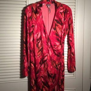 J Jill Wrap Stretch Dress Low Cut sliky Size 8👀♥️